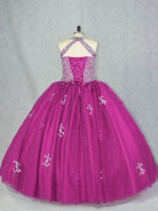 Fuchsia Sleeveless Beading and Appliques Floor Length Quinceanera Dresses