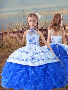 Floor Length Blue And White Child Pageant Dress Organza Sleeveless Beading and Embroidery and Ruffles