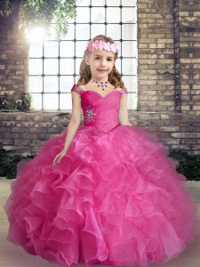 Sleeveless Lace Up Floor Length Beading and Ruffles Pageant Dress