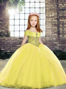 Sleeveless Beading Lace Up Pageant Gowns with Yellow Brush Train