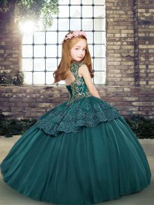 Glorious Red Lace Up Little Girls Pageant Dress Wholesale Beading Sleeveless Floor Length