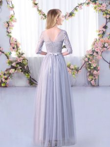 Fitting Floor Length Lavender Quinceanera Dama Dress V-neck Half Sleeves Side Zipper