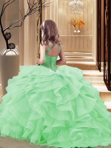 Charming Light Yellow Little Girl Pageant Dress Party and Sweet 16 and Wedding Party with Beading and Ruffles High-neck Sleeveless Brush Train Lace Up
