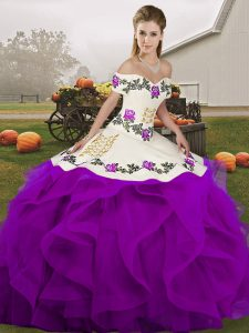 Ball Gowns 15th Birthday Dress White And Purple Off The Shoulder Tulle Sleeveless Floor Length Lace Up