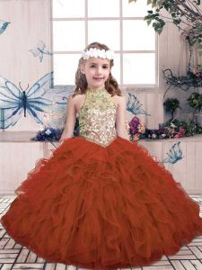 High End Rust Red High-neck Lace Up Beading and Ruffles Pageant Gowns For Girls Sleeveless