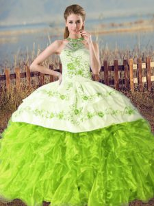 Sleeveless Floor Length Embroidery and Ruffles Lace Up 15th Birthday Dress