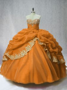 Hot Selling Floor Length Lace Up Ball Gown Prom Dress Brown for Sweet 16 and Quinceanera with Beading and Appliques and Pick Ups