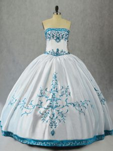 Aqua Blue Lace Up Quinceanera Gown Embroidery Sleeveless Floor Length