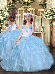 Elegant Baby Blue Lace Up Straps Beading and Ruffles Child Pageant Dress Organza Sleeveless