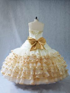 Champagne Sweetheart Neckline Embroidery and Ruffled Layers Sweet 16 Quinceanera Dress Sleeveless Lace Up