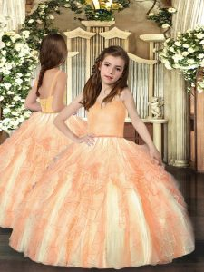 Orange Ball Gowns Beading and Ruffles Sweet 16 Dress Lace Up Organza Sleeveless Floor Length