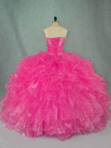 Custom Design Ball Gowns Sweet 16 Dresses Hot Pink Strapless Organza Sleeveless Floor Length Lace Up
