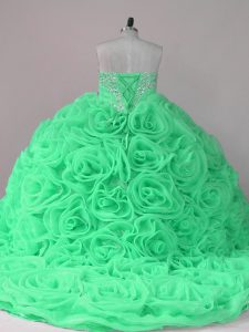 Sweetheart Sleeveless Vestidos de Quinceanera Brush Train Beading and Ruffles Fabric With Rolling Flowers