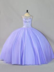 Glorious Sequins Quinceanera Gowns Lavender Zipper Sleeveless Floor Length