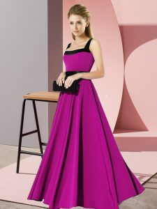 Chic Belt Vestidos de Damas Fuchsia Zipper Sleeveless Floor Length