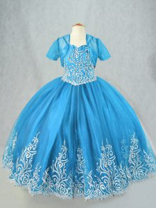 Charming Baby Blue Lace Up Girls Pageant Dresses Beading and Embroidery Sleeveless Floor Length