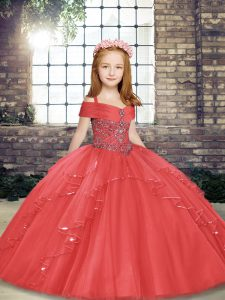 Excellent Straps Sleeveless Child Pageant Dress Floor Length Beading and Ruffles Coral Red Tulle