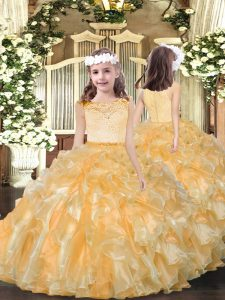 Gold Organza Zipper Scoop Sleeveless Floor Length Little Girls Pageant Gowns Beading and Ruffles