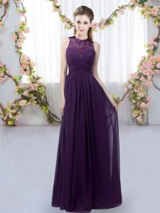 Floor Length Zipper Vestidos de Damas Dark Purple for Wedding Party with Lace