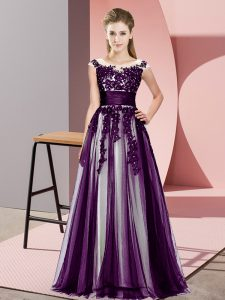 Scoop Sleeveless Damas Dress Floor Length Beading and Lace Dark Purple Tulle