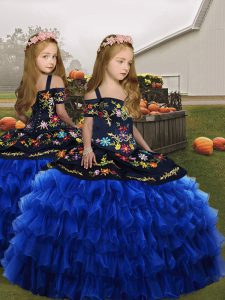 Ball Gowns Little Girls Pageant Dress Wholesale Royal Blue Straps Organza Sleeveless Floor Length Lace Up