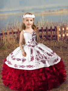 Beauteous Sleeveless Floor Length Embroidery and Ruffles Lace Up Girls Pageant Dresses with Wine Red