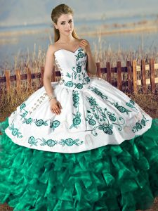 Fashionable Green Lace Up Sweetheart Embroidery and Ruffles Quince Ball Gowns Organza Sleeveless