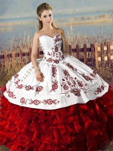 Embroidery and Ruffles Quince Ball Gowns White And Red Lace Up Sleeveless Floor Length