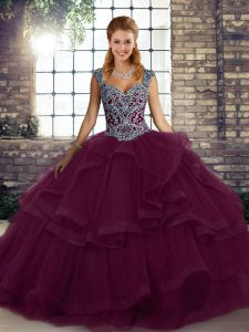 Dark Purple Tulle Lace Up Quinceanera Dresses Sleeveless Floor Length Beading and Ruffles