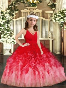 Eye-catching Floor Length Ball Gowns Sleeveless Red and Multi-color Child Pageant Dress Zipper