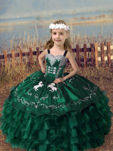 Organza Sleeveless Floor Length Little Girl Pageant Dress and Embroidery and Ruffled Layers