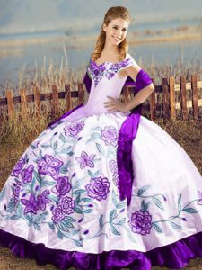 Hot Sale Off The Shoulder Sleeveless Sweet 16 Dress Floor Length Embroidery and Ruffles White And Purple Satin
