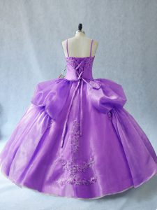 Appliques Sweet 16 Dress Lavender Lace Up Sleeveless Floor Length