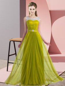 Discount Olive Green Lace Up Quinceanera Dama Dress Beading Sleeveless Floor Length