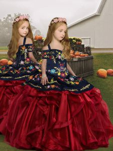 Trendy Wine Red Lace Up Straps Embroidery and Ruffles Little Girls Pageant Dress Wholesale Organza Sleeveless