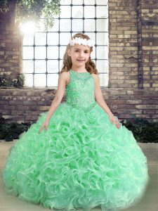 Modern Apple Green Organza Lace Up Scoop Sleeveless Floor Length Little Girls Pageant Gowns Beading and Ruffles