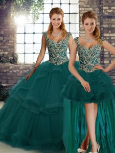 Peacock Green Sleeveless Beading and Ruffles Floor Length Quinceanera Gown