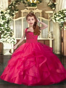 Floor Length Coral Red Little Girls Pageant Dress Straps Sleeveless Lace Up