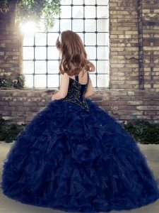 Blue Ball Gowns Straps Sleeveless Organza Floor Length Lace Up Beading and Ruffles Little Girl Pageant Dress