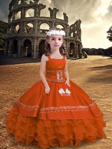 Sleeveless Floor Length Embroidery and Ruffled Layers Zipper Little Girls Pageant Gowns with Orange Red