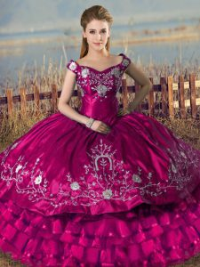 Fashionable Floor Length Lace Up Sweet 16 Dresses Fuchsia for Sweet 16 and Quinceanera with Embroidery and Ruffled Layers