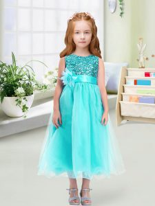 Vintage Scoop Sleeveless Zipper Flower Girl Dress Aqua Blue Organza