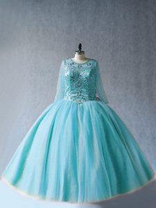 Superior Scoop Long Sleeves Lace Up 15th Birthday Dress Aqua Blue Tulle