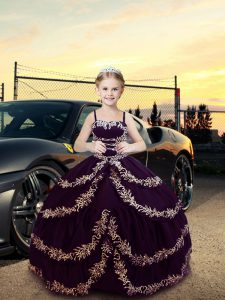 Floor Length Dark Purple Little Girl Pageant Dress Straps Sleeveless Lace Up