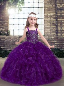 Cheap Eggplant Purple Lace Up Straps Beading and Ruffles Little Girl Pageant Dress Organza Sleeveless