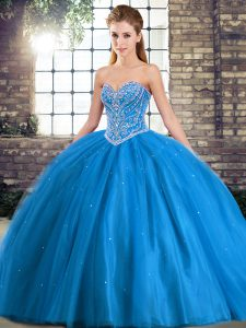 Adorable Baby Blue Sweetheart Lace Up Beading Sweet 16 Quinceanera Dress Brush Train Sleeveless