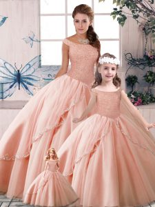 Decent Peach Off The Shoulder Neckline Beading 15th Birthday Dress Sleeveless Lace Up