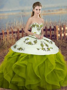 Sweet Olive Green Tulle Lace Up Sweetheart Sleeveless Floor Length Quinceanera Dress Embroidery and Ruffles and Bowknot