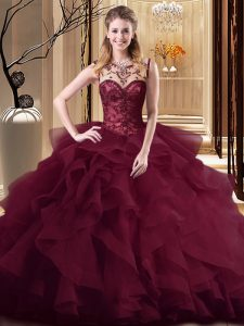 Fabulous Sleeveless Brush Train Lace Up Beading and Ruffles Quinceanera Dress