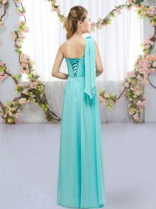 One Shoulder Sleeveless Chiffon Court Dresses for Sweet 16 Hand Made Flower Lace Up